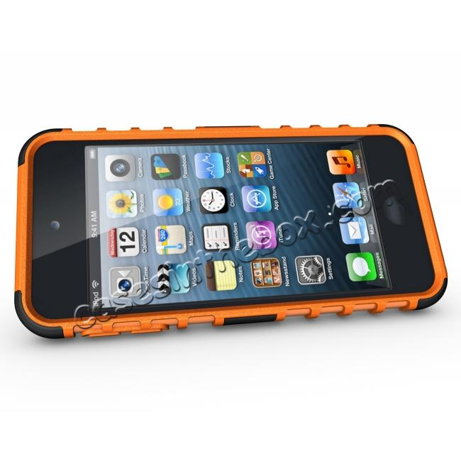 discount Shockproof Dual Layer Hybrid Armor Kickstand Case For Apple iPod Touch 5th Gen - Orange