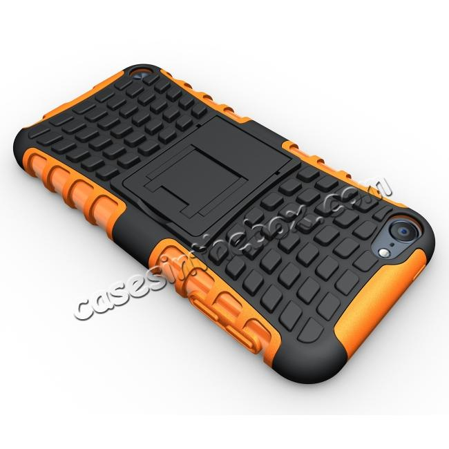 top quality Shockproof Dual Layer Hybrid Armor Kickstand Case For Apple iPod Touch 5th Gen - Orange