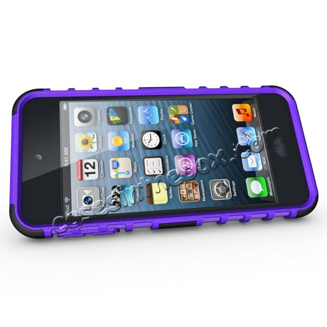 discount Shockproof Dual Layer Hybrid Armor Kickstand Case For Apple iPod Touch 5th Gen - Purple
