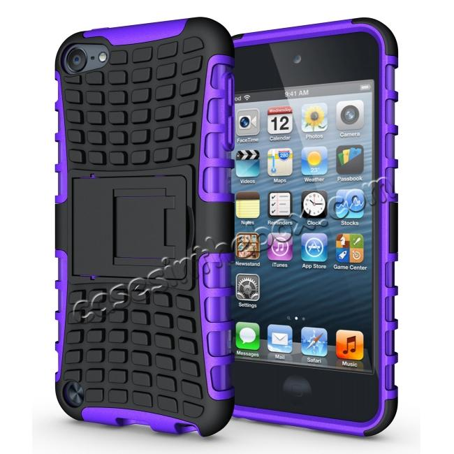 wholesale Shockproof Dual Layer Hybrid Armor Kickstand Case For Apple iPod Touch 5th Gen - Purple