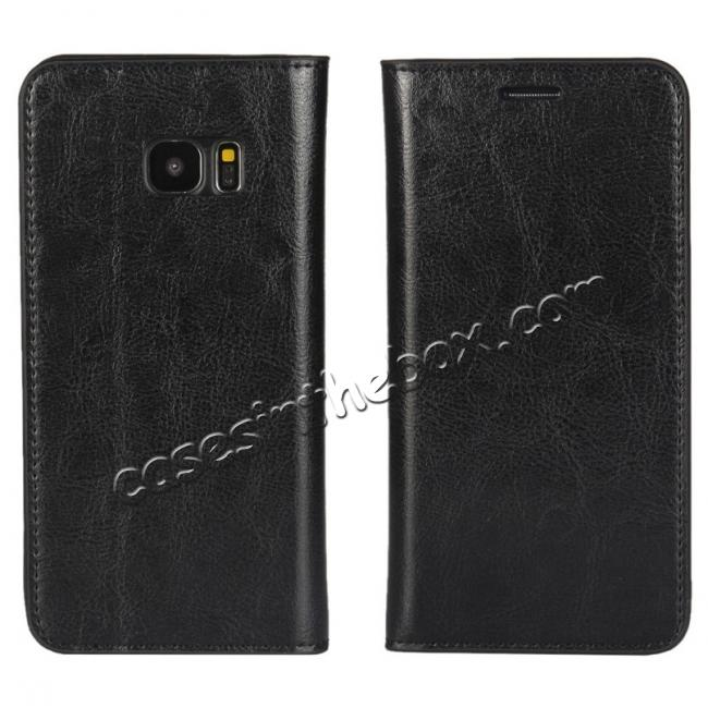 wholesale Crazy Horse Genuine Leather Flip Wallet Stand Case for Samsung Galaxy S7 Edge G935 with Card Slots - Black