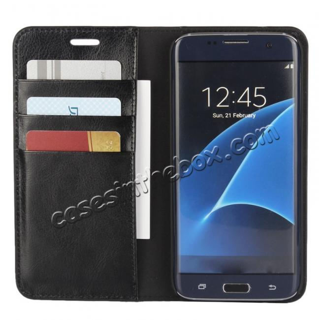 top quality Crazy Horse Genuine Leather Flip Wallet Stand Case for Samsung Galaxy S7 Edge G935 with Card Slots - Black