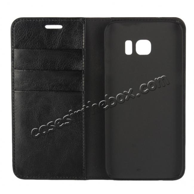 best price Crazy Horse Genuine Leather Flip Wallet Stand Case for Samsung Galaxy S7 Edge G935 with Card Slots - Black