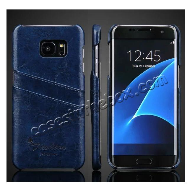 wholesale Fashion Oil Wax Grain PU Leather Back Cover Case With Card Slot for Samsung Galaxy S7 Edge - Dark Blue