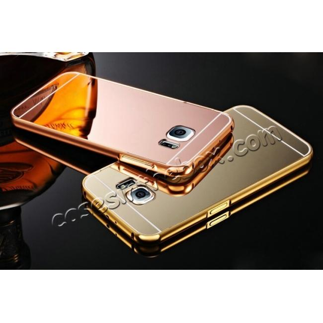 top quality Luxury Metal Aluminum Bumper & Acrylic Mirror Back Case Cover For Samsung Galaxy S6 S7 S7 Edge S8 S8 Plus