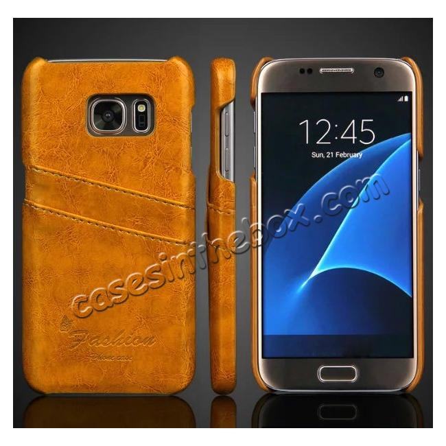 wholesale dealer 89ecf 16f4e Oil Wax Leather Credit Card Holder Back Shell Case Cover for Samsung Galaxy  S7 G930 - Yellow