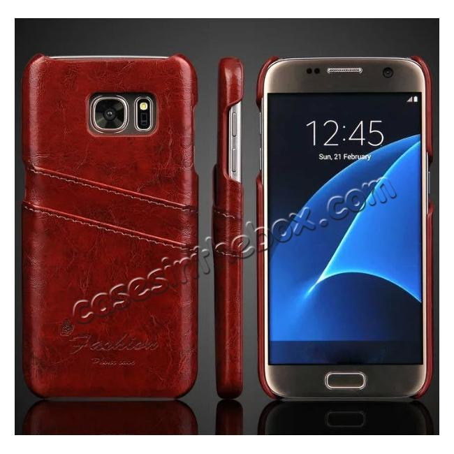finest selection 5aa54 93d3a Oil Wax Leather Credit Card Holder Back Shell Case Cover for Samsung Galaxy  S7 G930 - Dark Brown
