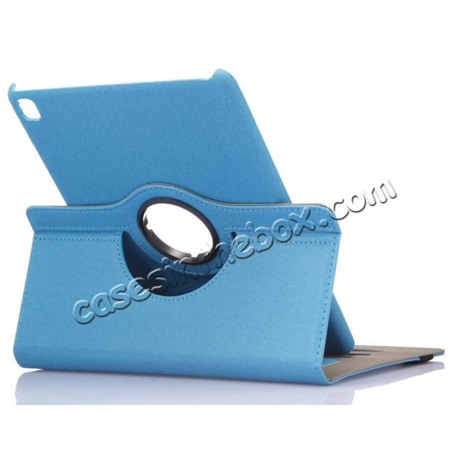 360 Degree Rotating Folio Jeans Cloth Skin PU Leather Case for 9 7-inch  iPad Pro - Light Blue