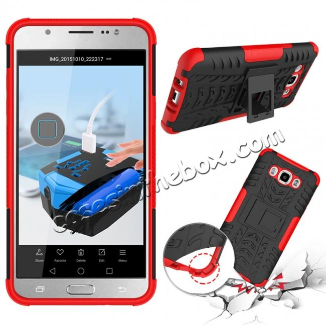 new style 06aea b58a0 Hybrid Dual Layer Armor Defender Case with Stand For Samsung Galaxy J7  (2016) J710 - Red