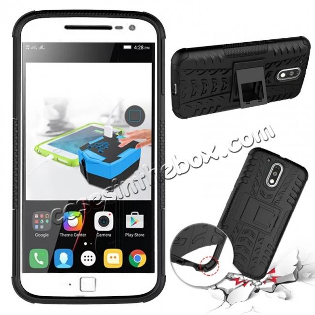 discount Shockproof Hybrid Dual Layer Protective Case Kickstand Cover for Motorola MOTO G4 Plus - Black