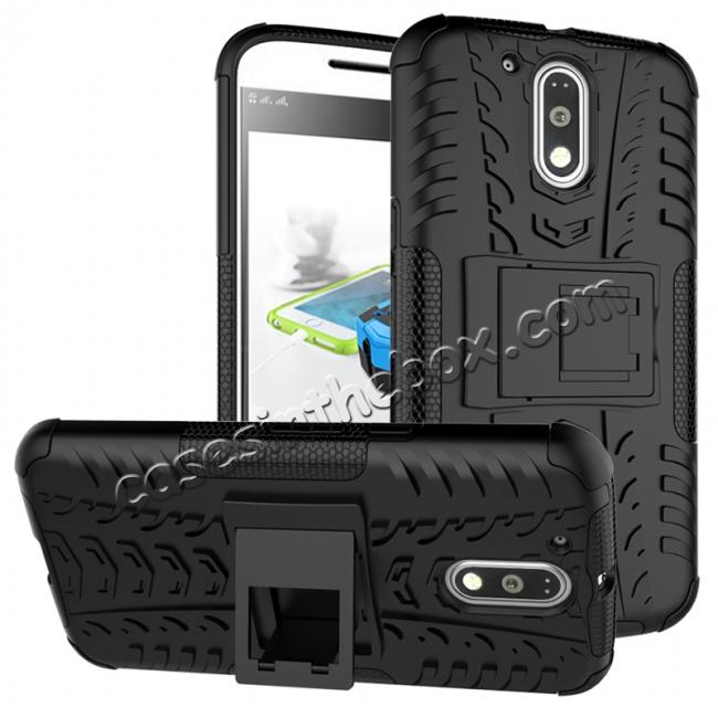 wholesale Shockproof Hybrid Dual Layer Protective Case Kickstand Cover for Motorola MOTO G4 Plus - Black
