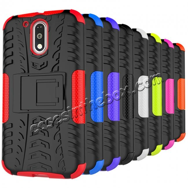 cheap Shockproof Hybrid Dual Layer Protective Case Kickstand Cover for Motorola MOTO G4 Plus - Black