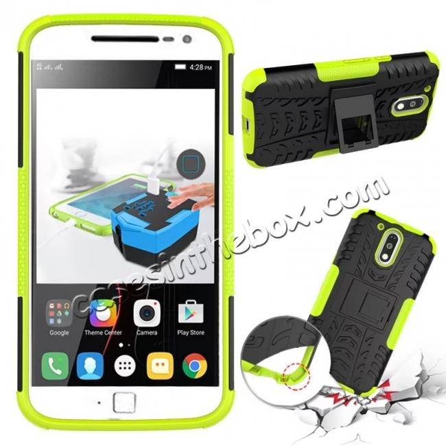 discount Shockproof Hybrid Dual Layer Protective Case Kickstand Cover for Motorola MOTO G4 Plus - Green