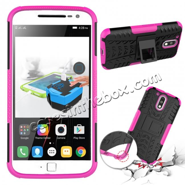 discount Shockproof Hybrid Dual Layer Protective Case Kickstand Cover for Motorola MOTO G4 Plus - Hot pink