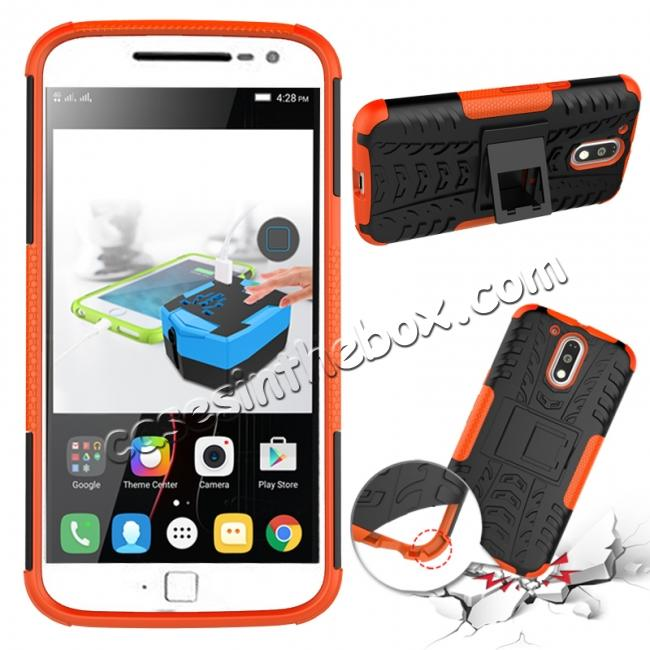 discount Shockproof Hybrid Dual Layer Protective Case Kickstand Cover for Motorola MOTO G4 Plus - Orange