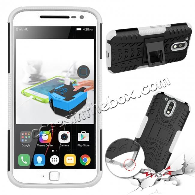 discount Shockproof Hybrid Dual Layer Protective Case Kickstand Cover for Motorola MOTO G4 Plus - White