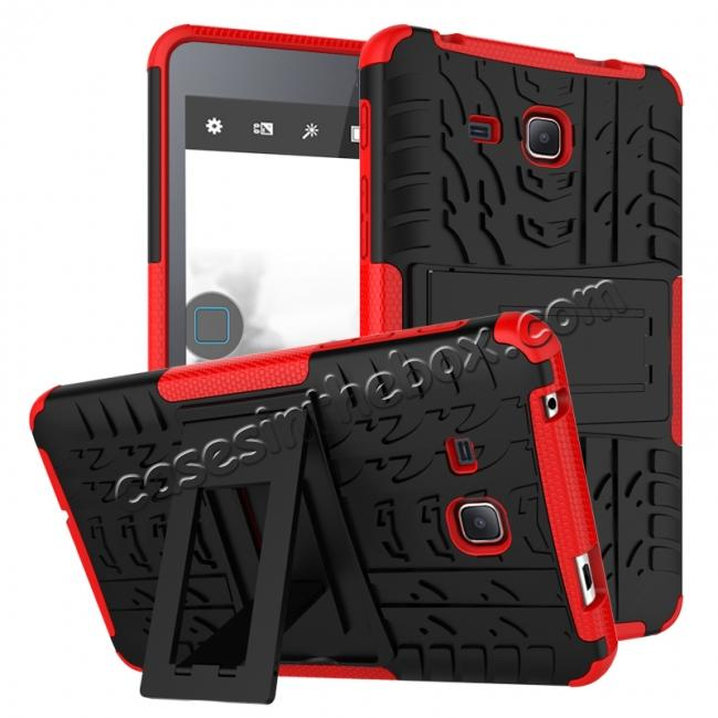 wholesale Hybrid Dual Layer Tough Kickstand Protective Case for Samsung Galaxy Tab A (2016) T280 - Red