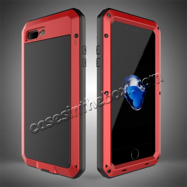 quality design 2d4a0 404ec Shockproof Aluminum Metal Cover & Gorilla Glass Screen Protector Case for  iPhone 7 Plus - Red