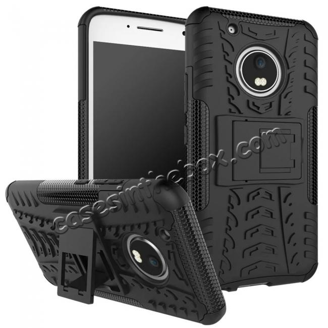 wholesale Tough Rugged Dual Layer Shockproof Kickstand Protective Case for Motorola Moto G5 Plus - Black