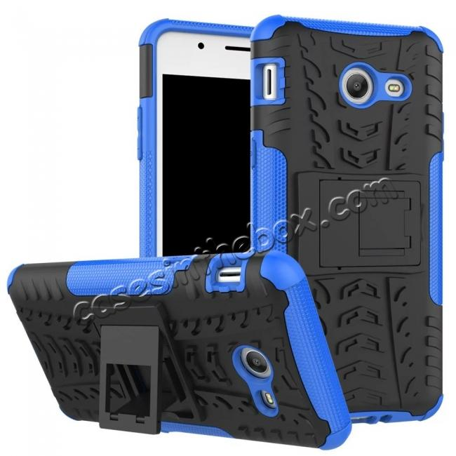wholesale Hybrid Dual Layer Armor Defender Kickstand Protective Case for Samsung Galaxy J5 (2017) - Blue
