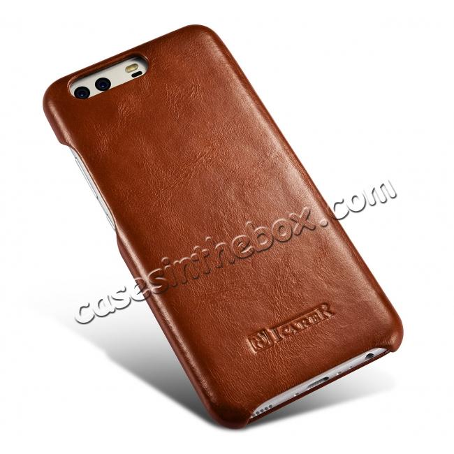 new product c3bc4 db71e ICARER Curved Edge Vintage Series Cowhide Leather Slim Side Open Flip Case  Cover for Huawei P10 - Brown