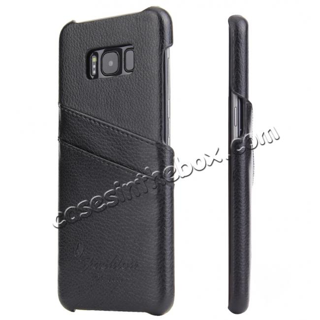 wholesale Litchi Cowhide Genuine Leather Case with Double Credit card slots for Samsung Galaxy S8 - Black