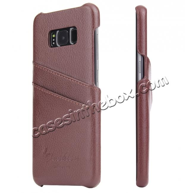 wholesale Litchi Cowhide Genuine Leather Case with Double Credit card slots for Samsung Galaxy S8 - Brown