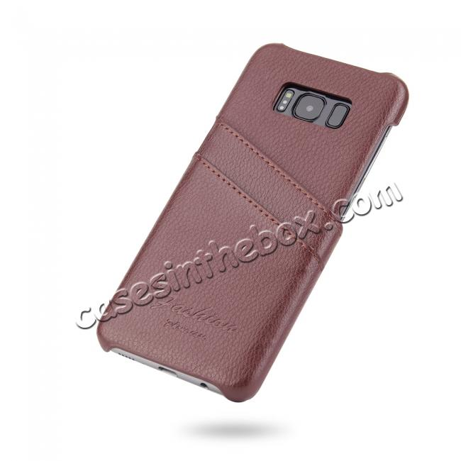 discount Litchi Cowhide Genuine Leather Case with Double Credit card slots for Samsung Galaxy S8 - Brown