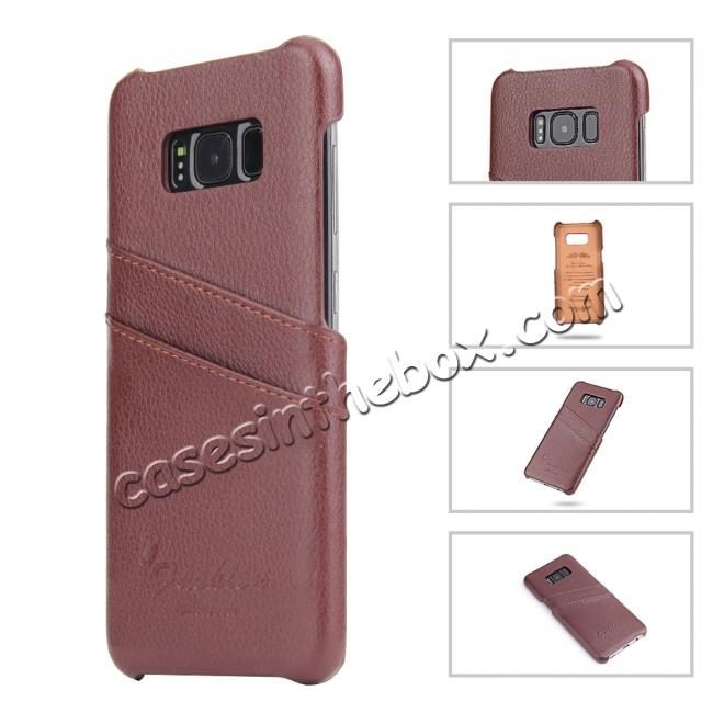 cheap Litchi Cowhide Genuine Leather Case with Double Credit card slots for Samsung Galaxy S8 - Brown
