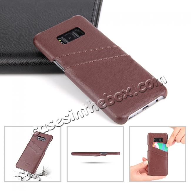 top quality Litchi Cowhide Genuine Leather Case with Double Credit card slots for Samsung Galaxy S8 - Brown