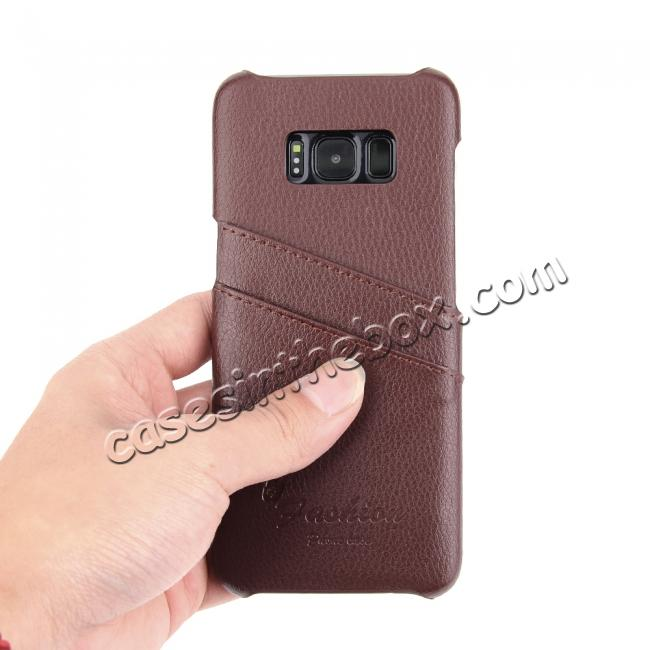 best price Litchi Cowhide Genuine Leather Case with Double Credit card slots for Samsung Galaxy S8 - Brown