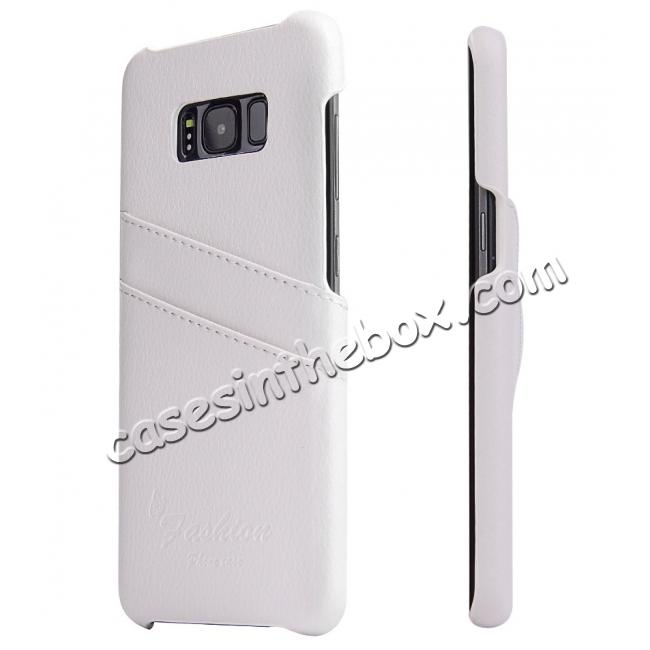 wholesale Litchi Cowhide Genuine Leather Case with Double Credit card slots for Samsung Galaxy S8 - White