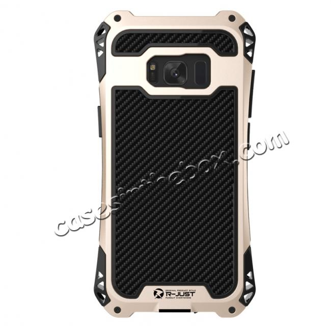 aluminum cases for samsung s8,cheap R-just Full-body Aluminum Alloy Metal Bumper Shockproof Dropproof Cover Case For Samsung Galaxy S8 - Black&Gold