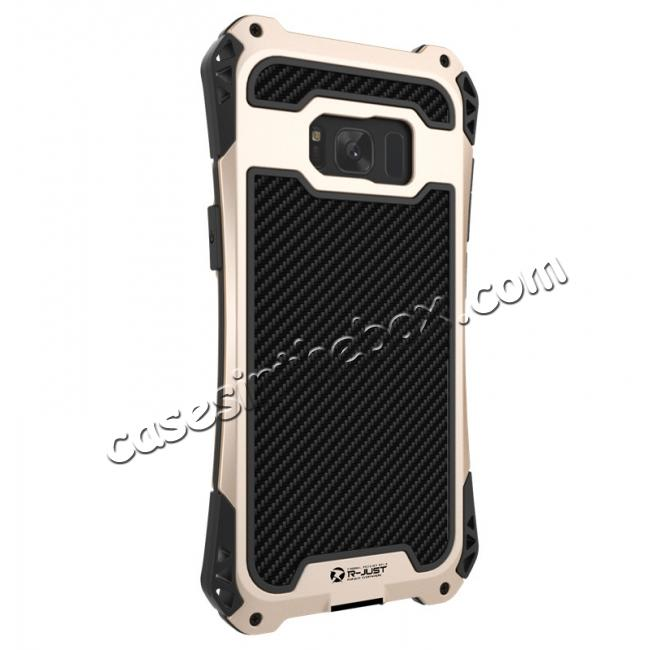 galaxy s8 case black metal,best price R-just Full-body Aluminum Alloy Metal Bumper Shockproof Dropproof Cover Case For Samsung Galaxy S8 - Black&Gold