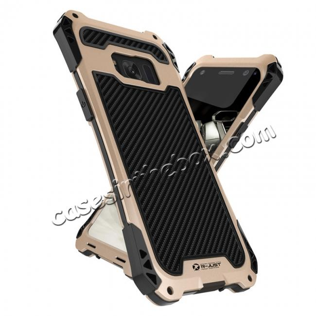 samsung galaxy s8 metal case,wholesale R-just Full-body Aluminum Alloy Metal Bumper Shockproof Dropproof Cover Case For Samsung Galaxy S8 - Black&Gold