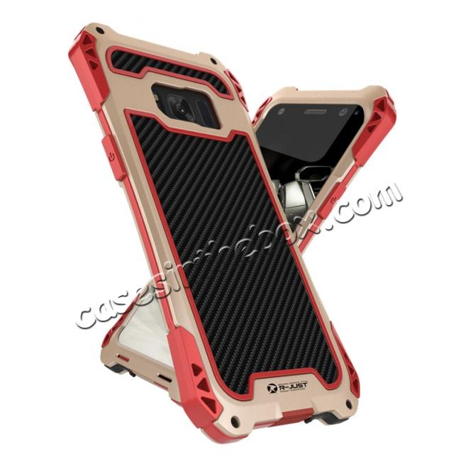 size 40 06445 28068 R-just Powerful Anti-drop Shockproof Dirt Proof Metal Aluminum Cover Case  for Samsung Galaxy S8+ Plus - Red&Gold