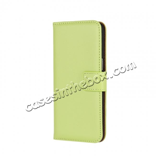 discount Genuine Leather Wallet Flip Cover Case Card Holder for Samsung Galaxy S8 - Green