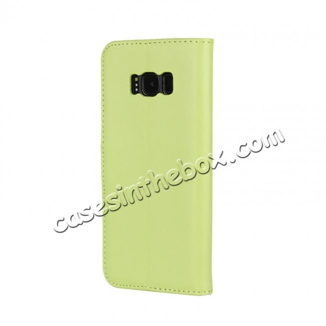 cheap Genuine Leather Wallet Flip Cover Case Card Holder for Samsung Galaxy S8 - Green