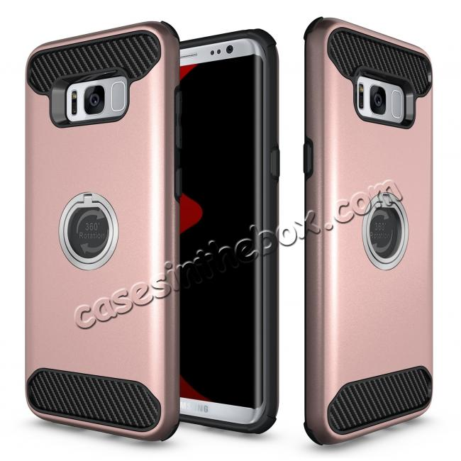 the latest b6f18 d8eed Ring Grip Holder Shockproof Protective Case With Kickstand for Samsung  Galaxy S8+ Plus - Rose gold