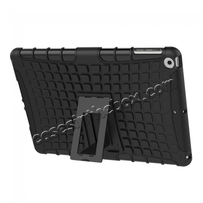 top quality Rugged Armor Shockproof Dual Layer Protective Kickstand Case For Apple iPad 9.7 (2017) - Black