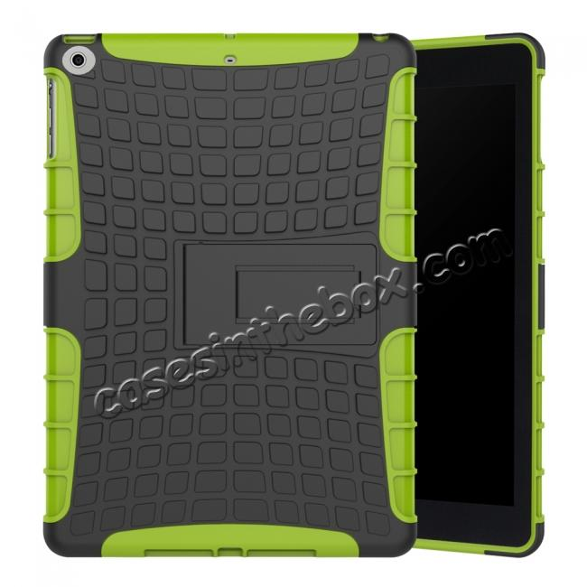 wholesale Rugged Armor Shockproof Dual Layer Protective Kickstand Case For Apple iPad 9.7 (2017) - Green