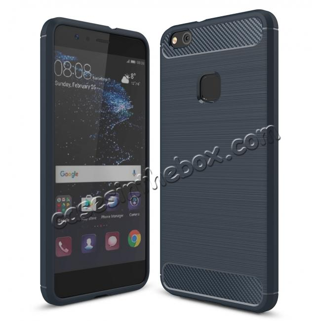 wholesale Carbon Fiber Brushed Texture Shockproof Soft TPU Case For Huawei P10 Lite - Navy blue