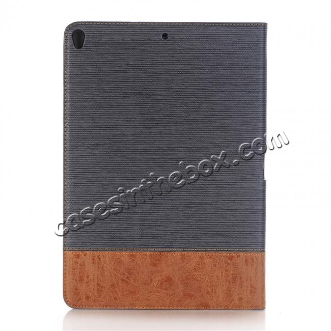 discount Cross Pattern PU Leather Flip Folio Wallet Card Holders Case for iPad Pro 10.5-inch - Grey