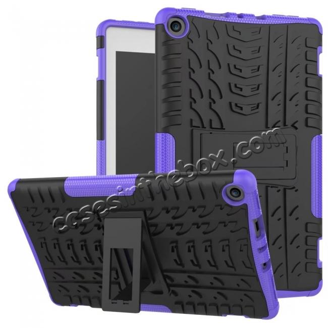 wholesale Rugged Armor Hybrid Kickstand Defender Protective Case for Amazon Kindle Fire HD 8 (2017) - Purple
