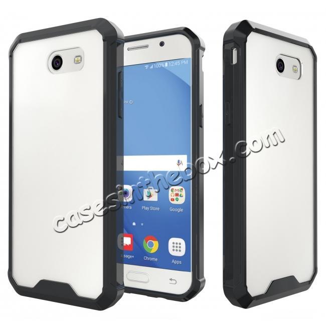 new arrival b2dac 7a9e8 TPU Bumper with Clear Hard Acrylic Backplate Hybrid Case For Samsung Galaxy  J3 Emerge - Black