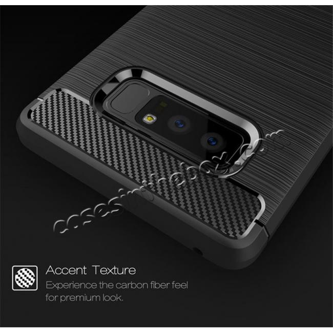 cheap Carbon Fiber Brushed Shockproof TPU Rubber Case For Samsung Galaxy Note 8 - Red