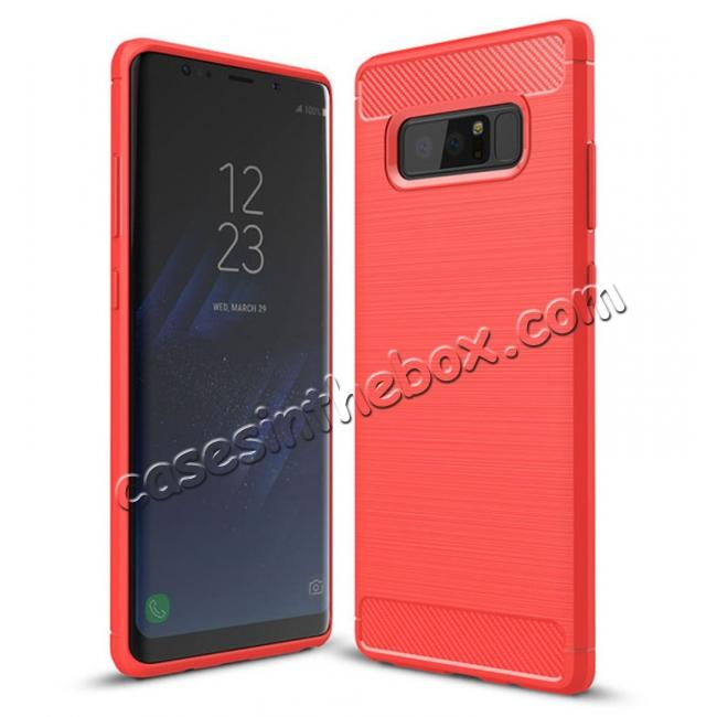 wholesale Carbon Fiber Brushed Shockproof TPU Rubber Case For Samsung Galaxy Note 8 - Red