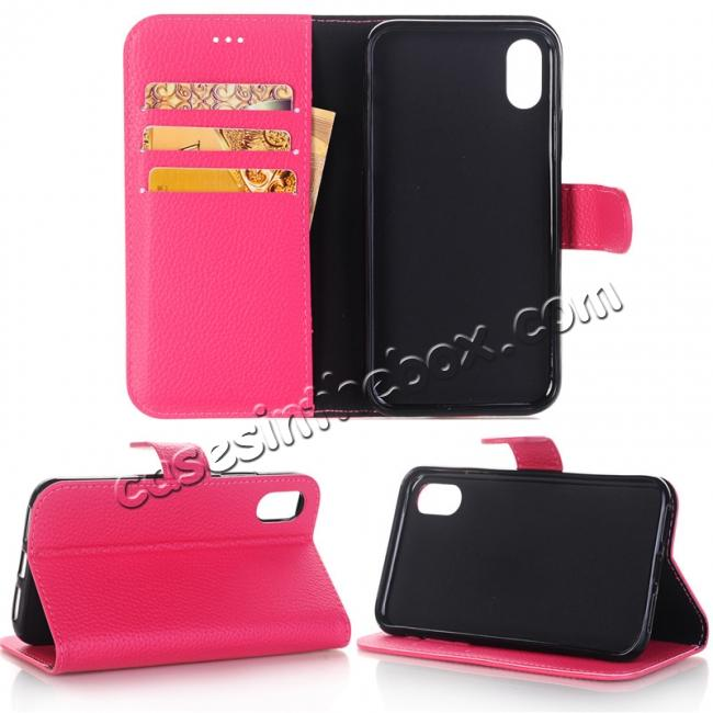 big sale d0420 1cd3f Lichee Pattern PU Leather Protective Cover Case for iPhone X - Rose Red