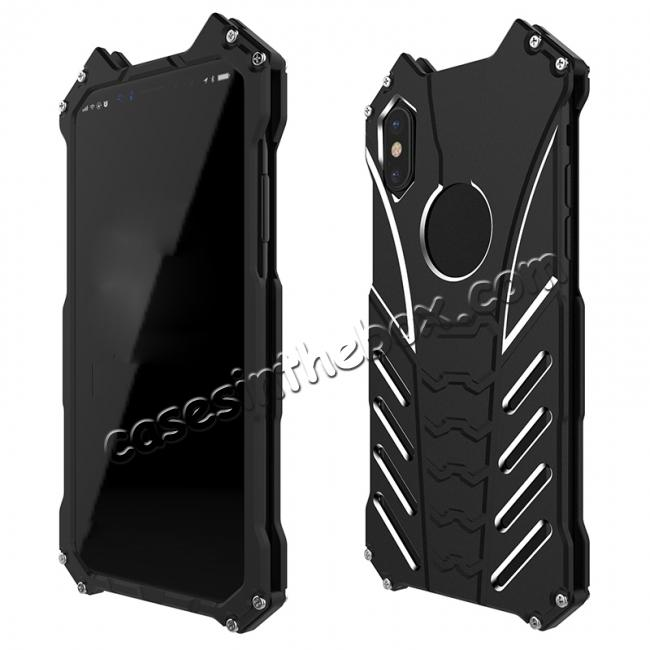 discount R-Just Aluminum Metal Shockproof Case Cover for iPhone XS / X - Black