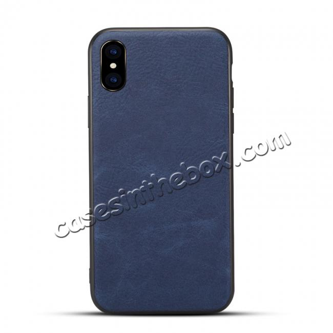 meet 7fb83 8d810 Slim Retro Leather Case Back Cover Skin For iPhone X - Navy Blue